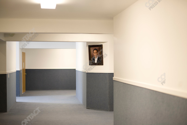Fundamentalist Mormon group F.L.D.S., portrait of church leader Warren Jeffs, compound in Eldorado, Texas, USA, February 11, 2009