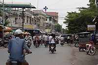 Cambodia - 2007 File Photo -<br /> <br /> scooters and motorcycles traffic <br /> <br /> photo : James Wong-  Images Distribution