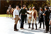 United States President Ronald Reagan, with U.S. Ambassador to Mexico John Gavin and President Jose Lopez Portillo of Mexico following the afternoon's horseback ride at Camp David, near Thurmont, Maryland on Monday, June 8, 1981..Mandatory Credit: Michael Evans - White House via CNP
