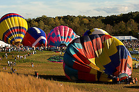 Hot air balloons inflate during the annual Carolina BalloonFest, held each fall in Statesville, NC. Photos were taken at the October 2008 event.