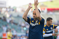 CARSON, CA - May 25, 2014: Los Angeles Galaxy midfielder Landon Donovan (10) acknowledging the cheers from fans prior to LA Galaxy vs Philadelphia Union match at the StubHub Center in Carson, California. Final score, LA Galaxy 4, Philadelphia Union  1.