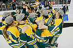 ST CHARLES, MO - MARCH 19:  Members of the Clarkson Golden Knights celebrate with the First Place trophy after defeating the Wisconsin Badgers at the Division I Women's Ice Hockey Championship held at The Family Arena on March 19, 2017 in St Charles, Missouri. Clarkson defeated Wisconsin 3-0 to win the national championship. (Photo by Mark Buckner/NCAA Photos via Getty Images)