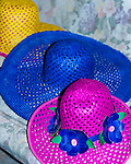 Handcrafted buri hats are displayed in the weaver's home.  (It turns out, Filipino heads are smaller than fat American heads.)