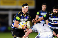 Francois Louw of Bath Rugby in possession. Aviva Premiership match, between Bath Rugby and Newcastle Falcons on March 18, 2016 at the Recreation Ground in Bath, England. Photo by: Patrick Khachfe / Onside Images