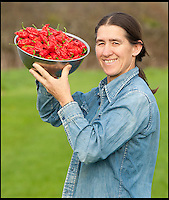 BNPS.co.uk (01202 558833)<br /> LauraJones/BNPS<br /> <br /> Red hot record...<br /> <br /> Tree of fire turns into pot of gold - Dorset Chilli farmer Joy Michaud is hoping she has set a new world record after collecting an astonshing 2407 chilli's from one bush at the weekend.<br /> <br /> Joy Michaud with a bowl of the Dorset Naga chillies.<br /> <br /> Its been a bumper year for chilli's and farmer Joy Michaud has grown a 'tree of fire' with over two thousand of the worlds hottest on it.<br /> <br /> The average chilli 's heat is measured at 30,000 scovell's but the legendary Dorset Naga has been measured at 1.2 million scovel's.<br /> <br /> With that in mind great care has to be taken when handling the explosive crop.<br /> <br /> Joy said 'growing conditions have been perfect this year and  I have never seen a chilli tree this big before, its astonishing.'