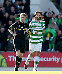 St Johnstone v Celtic..30.10.10  .Ref Calum Murray has words with Georgios Samaras about his goal celebration with the fans.Picture by Graeme Hart..Copyright Perthshire Picture Agency.Tel: 01738 623350  Mobile: 07990 594431
