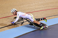 Picture by Alex Broadway/SWpix.com - 06/03/2016 - Cycling - 2016 UCI Track Cycling World Championships, Day 5 - Lee Valley VeloPark, London, England - Fernando Gaviria Rendon of Columbia crashes during the Men's Madison Final.