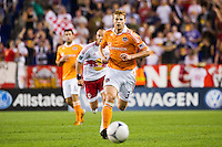 Andre Hainault (31) of the Houston Dynamo. The New York Red Bulls defeated the Houston Dynamo 2-0 during a Major League Soccer (MLS) match at Red Bull Arena in Harrison, NJ, on August 10, 2012.