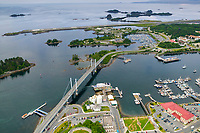 Aerial view of the coastal town of Sitka, on Baranof Island, Southeast, Alaska