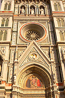 The Dome Catheral - Detail Of facade ; Florence Italy