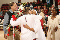 25 February 2007: Markisha Coleman hugs Clare Bodensteiner during Stanford's 56-53 win over USC at Maples Pavilion in Stanford, CA.