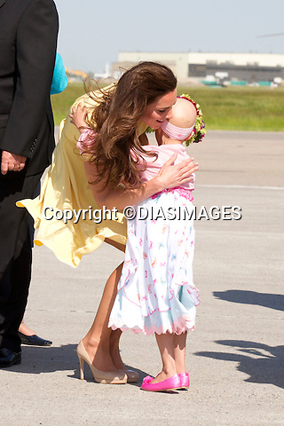 """PRINCE WILLIAM & KATE CANADA.7-year-old Diamond Marshall who is terminally ill hugs Kate on arrival at Calgary Airport, Alberta_07/07/2011.Mandatory Credit Photo: ©DIASIMAGES. .**ALL FEES PAYABLE TO: """"NEWSPIX INTERNATIONAL""""**..No UK Usage until 03/08/2011.IMMEDIATE CONFIRMATION OF USAGE REQUIRED:.DiasImages, 31a Chinnery Hill, Bishop's Stortford, ENGLAND CM23 3PS.Tel:+441279 324672  ; Fax: +441279656877.Mobile:  07775681153.e-mail: info@newspixinternational.co.uk"""