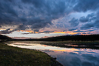 Yellowstone River in the Hayden Valley at dusk