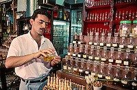 Tunisia.  Tunis Medina.  Perfume Vendor.