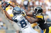 PITTSBURGH - SEPTEMBER 18:  Golden Tate #81 of the Seattle Seahawks catches a pass in front of William Gay #22 of the Pittsburgh Steelers in the first half during the game on September 18, 2011 at Heinz Field in Pittsburgh, Pennsylvania.  (Photo by Jared Wickerham/Getty Images)