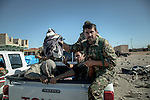 13/11/2015-- Iraq,Sinjar -- A captured ISIS fighter by Peshmarga after a battle between ISIS and Peshmarga forces which one Peshmarga fighter had been killed.
