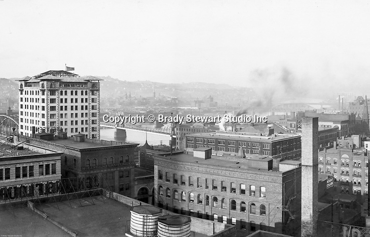 Pittsburgh PA: View of City from the top of the Empire Building - 1904. View of the city looking across to the Allegheny River and North Side. The Bessemer Building in the left near the river.