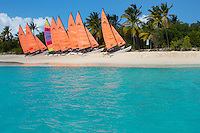 Hobie Cats lined up on the beach<br /> Sandy Cay<br /> British Virgin Islands