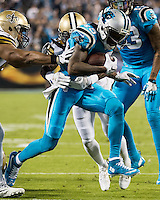 Charlotte, NC - November 17, 2016: The Carolina Panthers play the New Orleans Saints at Bank of America Stadium.  Final score Panther 23, Saints 20.