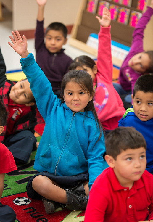 First grade students on the first first day of class at the new Sherman Elementary School, December 2, 2013.