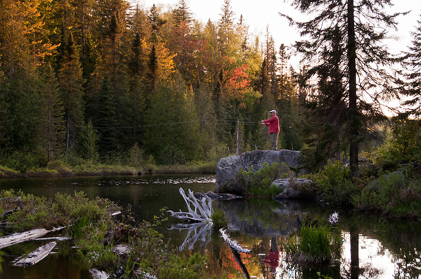 Fly fishing for warm water species like bass, pike and musky at Craig Lake State Park in Michigan's Upper Peninsula.