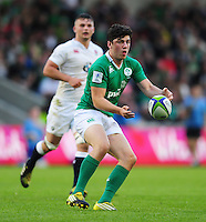 Jimmy O'Brien of Ireland U20 passes the ball. World Rugby U20 Championship Final between England U20 and Ireland U20 on June 25, 2016 at the AJ Bell Stadium in Manchester, England. Photo by: Patrick Khachfe / Onside Images