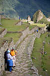 South America, Peru, Machu Picchu. Trail from the Sun Gate to Machu PIcchu.