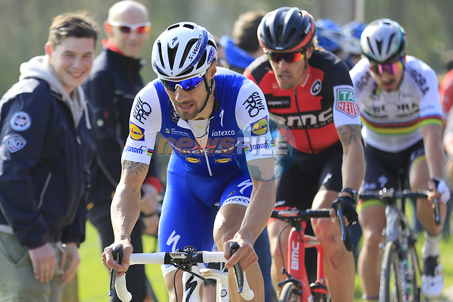 Tom Boonen (BEL) Quick-Step Floors leads Daniel Oss (ITA) BMC and World Champion Peter Sagan (SVK) Bora-Hansgrohe at the top of the Taaienberg 18% cobbled climb during the 60th edition of the Record Bank E3 Harelbeke 2017, Flanders, Belgium. 24th March 2017.<br /> Picture: Eoin Clarke | Cyclefile<br /> <br /> <br /> All photos usage must carry mandatory copyright credit (&copy; Cyclefile | Eoin Clarke)