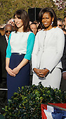 First Lady Michelle Obama (R) and Samantha Cameron during the official arrival ceremony at the South Lawn of the White House March 14, 2012 in Washington, DC. Prime Minister Cameron was on a three-day visit in the U.S. and he was expected to have talks with President Obama on the situations in Afghanistan, Syria and Iran. .Credit: Chip Somodevilla / Pool via CNP