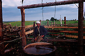 Sergivskoye, Russia<br /> July, 1998<br /> <br /> At a collective milking station a man takes a break near a hot vat of water used to clean the cow's tits before milking.