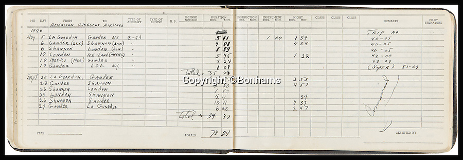 BNPS.co.uk (01202 558833)<br /> Pic: Bonhams/BNPS<br /> <br /> *Please use full byline*<br /> <br /> Lot 295:  Manuscript flight logs of Capt. Lewis, co-pilot of Enola Gay.  Expected to sell for &pound;100,000-130,000.<br /> <br /> Never-seen-before diagrams used to plan and execute the dropping of the world's first atomic bomb on Japan in a bid to end WWII have emerged for sale 70 years after the historic mission.<br /> <br /> The simple hand-drawn bombing plans detail exactly how and when the crew of the Enola Gay B29 bomber were to unleash their deadly payload over the port city of Hiroshima on August 6, 1945.<br /> <br /> The previously unseen documents are among a &pound;300,000 archive of material compiled by Captain Robert Lewis, co-pilot of the Enola Gay, which also includes his flight logs and report of the bombing raid.