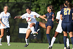06 September 2013: Duke's Mollie Pathman (left) and West Virginia's Frances Silva (right). The Duke University Blue Devils hosted the West Virginia University Mountaineers at Koskinen Stadium in Durham, NC in a 2013 NCAA Division I Women's Soccer match. The game ended in a 1-1 tie after two overtimes.