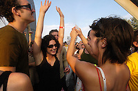 Piknik electronik sunday gathering underneath Calder sculpture, Montreal