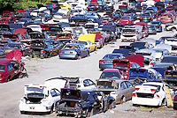 Wrecked Cars in Scrap Yard, Junkyard of Spare Used Auto Parts, Vancouver, BC, British Columbia, Canada - Recycling Industry