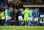 St Johnstone v FC Minsk...08.08.13 Europa League Qualifier<br /> Tommy Wright talks to his players before extra time<br /> Picture by Graeme Hart.<br /> Copyright Perthshire Picture Agency<br /> Tel: 01738 623350  Mobile: 07990 594431