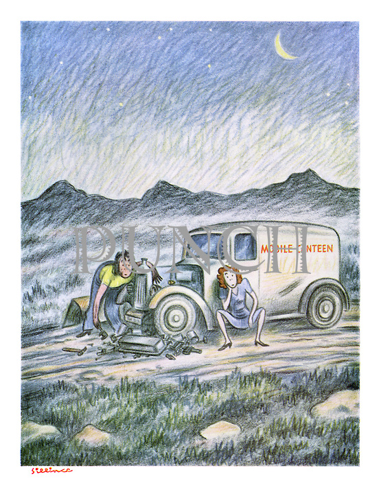 (Two women and their broken down Mobile Canteen stranded in the countryside as night falls.)