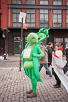 Penelo P. Pod joins hundreds of vegetarians in the trendy Meatpacking District in New York on Sunday, March 30, 2014 to kick off the Seventh Annual Veggie Pride Parade in America.  The yearly parade attracts vegetarians from the tri-state area where they espouse their meatless lifestyle. Parade organizers felt that vegetarianism has been overshadowed by other causes despite increased interest in the problems of factory farming, hormones and the health hazards of eating meat. (© Richard B. Levine)