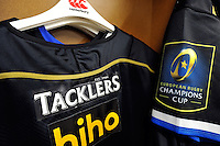 A general view of Thatchers/Tacklers branding on the European Bath Rugby jersey. European Rugby Champions Cup match, between RC Toulon and Bath Rugby on January 10, 2016 at the Stade Mayol in Toulon, France. Photo by: Patrick Khachfe / Onside Images