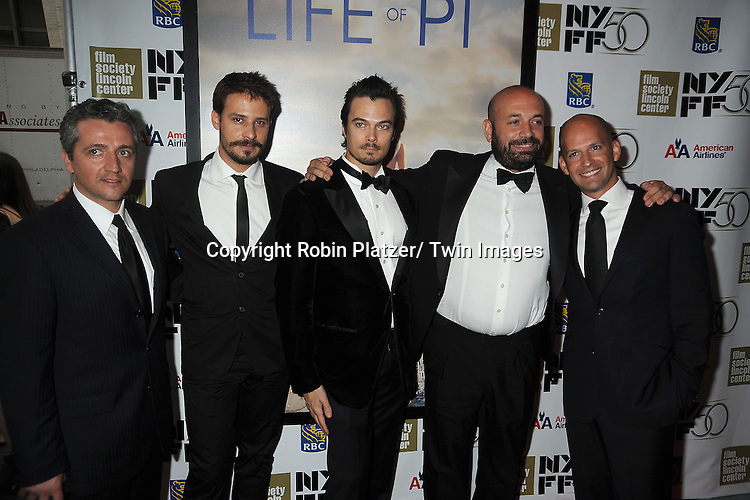 """Marius Chira, Barbu Balasoir, Tim Hobbs, Antonio Mendez Esparza and Ori Dov Gratch attends the 50th Annual New York Film Festival Opening Night Gala presentation of """"Life of Pi"""" starring Suraj Sharma and directored by Ang Lee on September 28, 2012 in New York City. The screening was at Alice Tully Hall at Lincoln Center."""