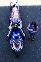 Jun 7, 2015; Englishtown, NJ, USA; NHRA pro stock motorcycle rider Hector Arana Jr with girlfriend Nicole Nobile during the Summernationals at Old Bridge Township Raceway Park. Mandatory Credit: Mark J. Rebilas-