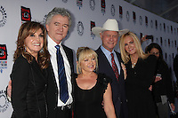 "LOS ANGELES - APR 12:  Linda Gray, Patrrick Duffy, Charlene Tilton, Larry Hagman, Joan Van Ark arrives at Warner Brothers ""Television: Out of the Box"" Exhibit Launch at Paley Center for Media on April 12, 2012 in Beverly Hills, CA"