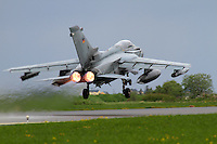 A German Tornado takes off with afterburner. Nato Tiger Meet is an annual gathering of squadrons using the tiger as their mascot. While originally mostly a social event it is now a full military exercise. Tiger Meet 2012 was held at the Norwegian air base Ørlandet.