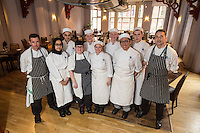 Mark Anderson of the Ruddington Arms (left),, New College lecturer Elliott Richardson (right) pictured with students
