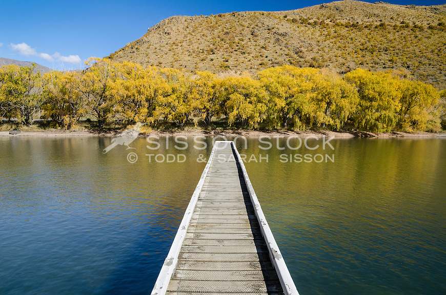 Boating, recreation at Lake Benmore Hydro Dam, Waitaki Valley, Otago, New Zealand - stock photo, canvas, fine art print