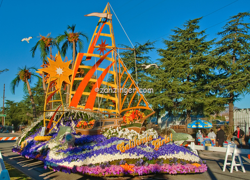 """Flower covered floats used in 2010  Rose Parade, Tournament of Roses, Pasadena; CA """"California Girls"""" Sierra Madre,"""