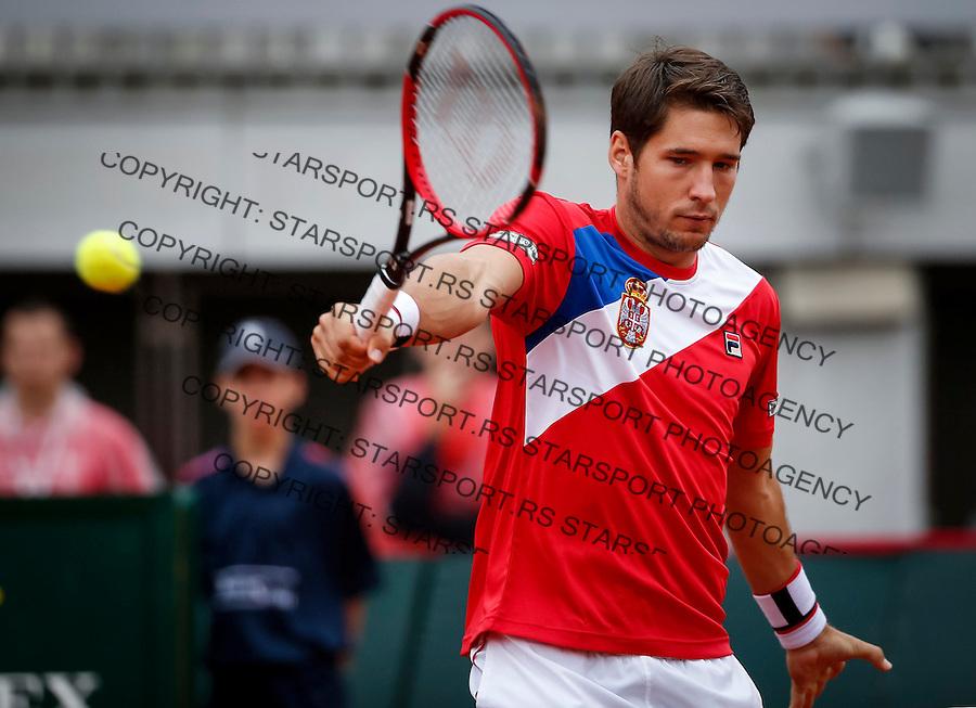 Davis Cup 2016 Quarter Final<br /> Srbija v Velika Britanija-Dubl-Doubles<br /> Dusan Lajovic SRB v Kyle Edmund GBR<br /> Dusan Lajovic<br /> Beograd, 17.07.2016.<br /> Foto: Srdjan Stevanovic/Starsportphoto.com&copy;
