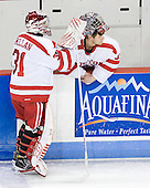 Kieran Millan (BU - 31), Grant Rollheiser (BU - 35) - The visiting Boston College Eagles defeated the Boston University Terriers 3-2 to sweep their Hockey East series on Friday, January 21, 2011, at Agganis Arena in Boston, Massachusetts.