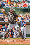 22 March 2015: Pittsburgh Pirates catcher Tony Sanchez in Spring Training action against the Houston Astros at Osceola County Stadium in Kissimmee, Florida. The Astros defeated the Pirates 14-2 in Grapefruit League play. Mandatory Credit: Ed Wolfstein Photo *** RAW (NEF) Image File Available ***