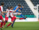Kilmarnock v St Johnstone...11.08.13 SPFL<br /> Murray Davidson and Kyle Jacobs<br /> Picture by Graeme Hart.<br /> Copyright Perthshire Picture Agency<br /> Tel: 01738 623350  Mobile: 07990 594431
