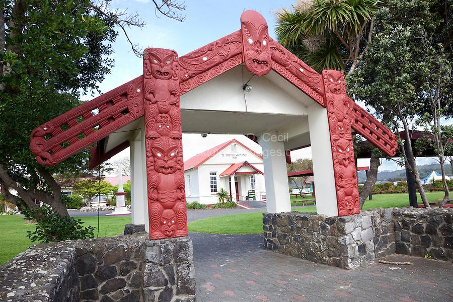Entrance to Maori Te Tiriti o Waitangi Meeting House, erected 1964.  Paihia, north island, New Zealand.